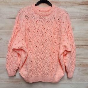Loose Knit Peach Sweater handmade Size L